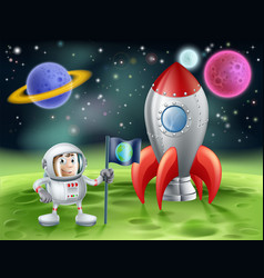 Cartoon astronaut and vintage rocket vector