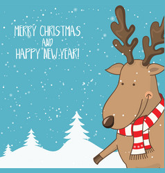Cartoon for holiday theme with deer on winter vector