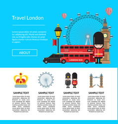 cartoon london sights template vector image