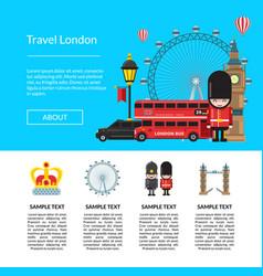 Cartoon london sights template vector