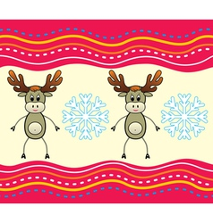 christmas background with a deer vector image