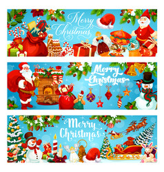 christmas tree gifts and santa banners vector image