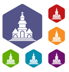 Church icons set vector