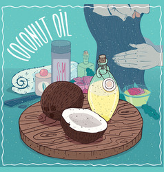 Coconut oil used for hair care vector