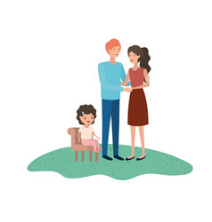 couple of parents with daughter sitting on chair vector image