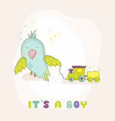 Cute parrot with a train baby shower card vector