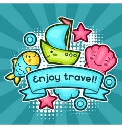 Cute travel background with kawaii doodles Summer vector