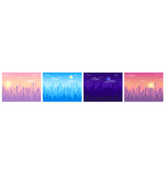 daytime city view cityscape sunrise noon vector image