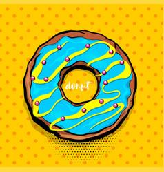 doughnut donut cartoon pop art vector image