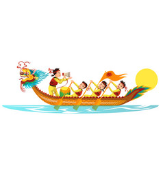 Dragons boat flat colorful banner vector