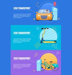 flat banner eco transport on a color background vector image
