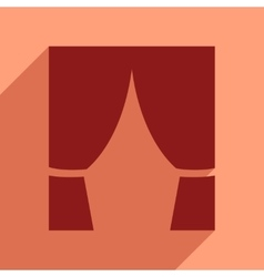 Flat web icon with long shadow curtain vector