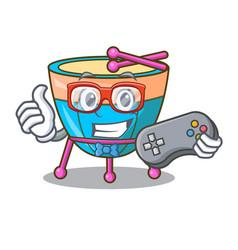 gamer cartoon timpani in the studio music vector image