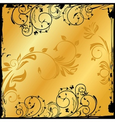 gold floral square vector image