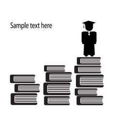 Graduate and stairs books vector