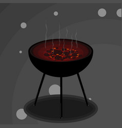 grill with smoke vector image