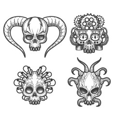 hand drawn monsters skull set vector image