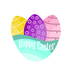 happy easter easter eggs on a white background vector image