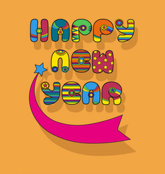 Happy new year disco font vector