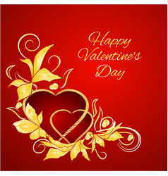 happy valentine day hearts with gold leaves vector image
