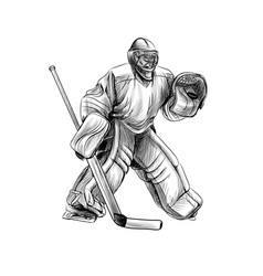hockey goalie player hand drawn sketch winter vector image