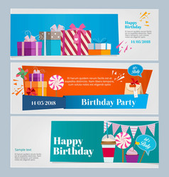 Horizontal banners set of birthday party vector