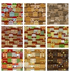Houses and buildings seamless patterns set vector