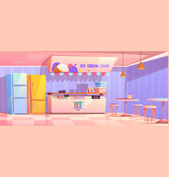 Ice cream shop interior with fridge and tables vector