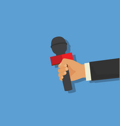 journalism concept hand holding microphone press vector image