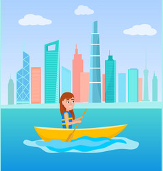 Kayaking girl sitting in boat holding oar vector