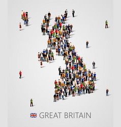 large group people in form great britain map vector image