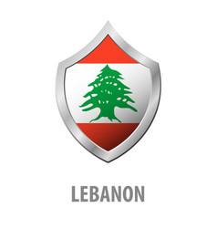 Lebanon flag on metal shiny shield vector