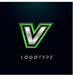 Letter v for video game logo and super hero vector