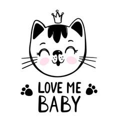 Love me cat bacartoon clip art vector