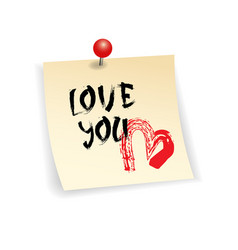 love you sticker for happy valentines day vector image