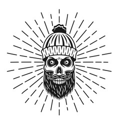 Lumberjack skull in knitted hat with rays vector