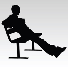 man sitting on a bench and resting silhouette vector image