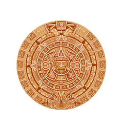 mayan calendar ancient mexican round stone vector image