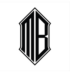 Mb logo monogram with shieldshape and outline vector