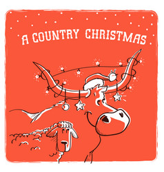 merry country christmas card with bull in santa vector image