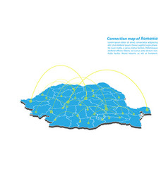 Modern of romania map connections network design vector
