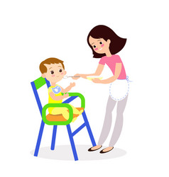mom feeds bacute characters vector image