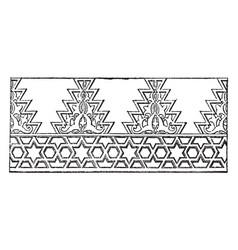 Mosque wall cresting cairo vintage engraving vector