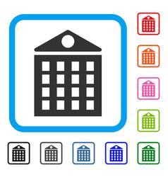Multi-storey house framed icon vector