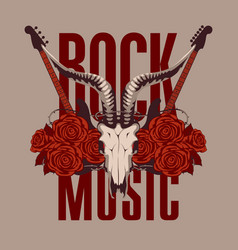 Music banner with electric guitar roses and skull vector