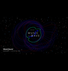Music wave poster design dotted gradient waves vector