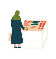 muslim woman in hijab buying vegetables modern vector image