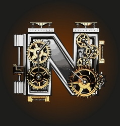 N letter with gears vector