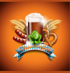 oktoberfest with fresh dark beer on orange vector image