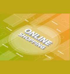online shopping isometric 3d word text concept vector image